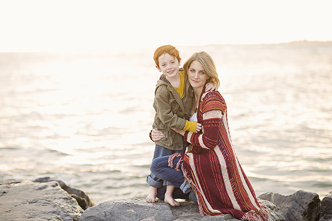natural mom and son at Point Lookout Beach