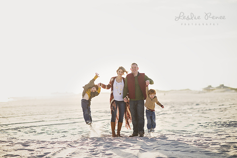 breezy family of four in earthy colors