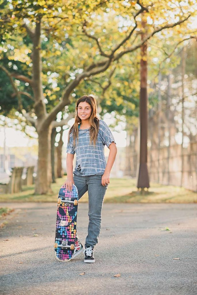 long-island-new-york-pre-bat-mitzvah-photo-shoot Oceanside Park skateboard