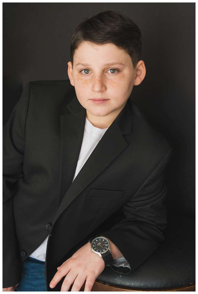 New York Modern boys Studio Portraits bar mitzvah boy