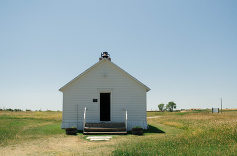 Little white one room school house Ingalls Homestead South Dakota