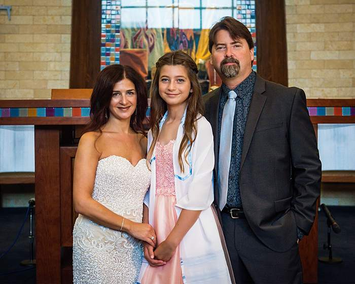 Long Island Bat Mitzvah Photos family of three on bima
