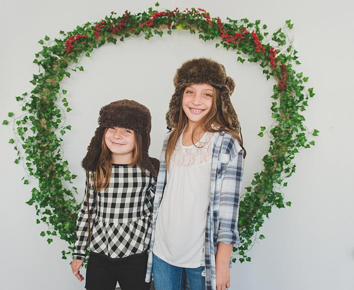 Long Island Christmas Card Mini sisters in fur hats