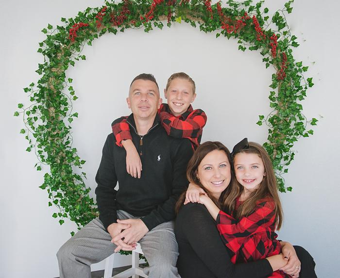 Long Island Christmas Card Mini family in red plaid