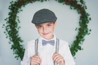 Long Island Christmas Card Mini suspenders and hat