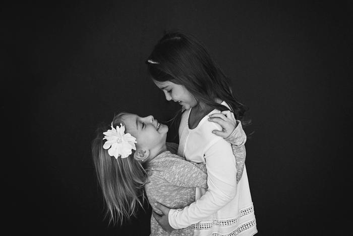 Rockville Centre Studio Family Portraits sisters black and white