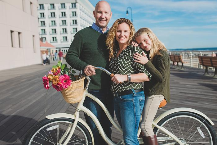 Long Beach Family Portraits bike flowers boardwalk