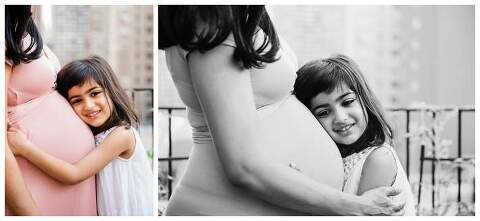 Manhattan Family Photos big sister with baby bump