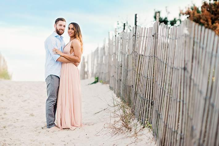 Long Island Beach Wedding Photographer pink dress