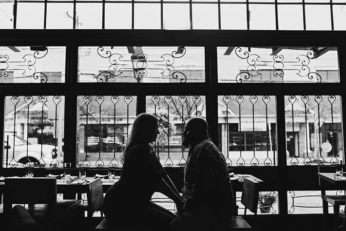 Long Island Engagement Photography black and white window