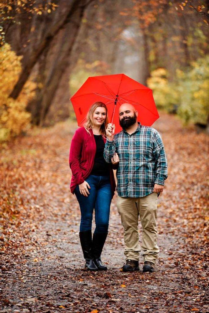 Long Island Engagement Photography red umbrella