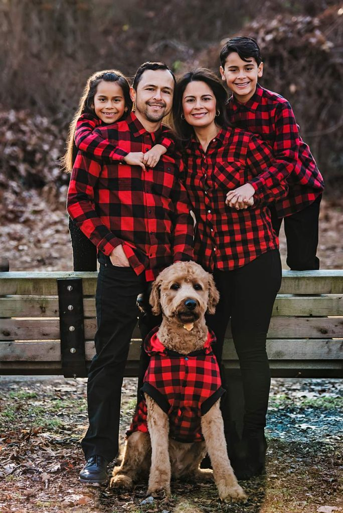 Long Island Lifestyle Family Photographer family of 4 plus fur baby
