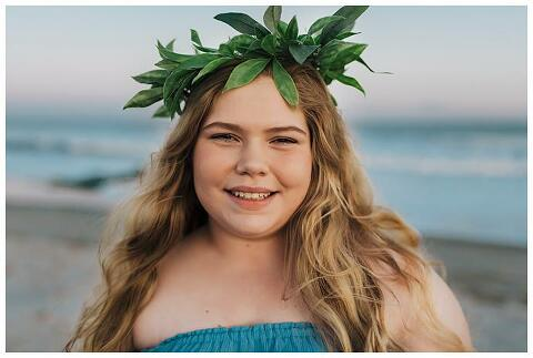High school Senior Beach Session Long Island flower crown