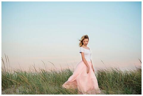 Long Island Bat Mitzvah Portraits Beach pink and blue sky