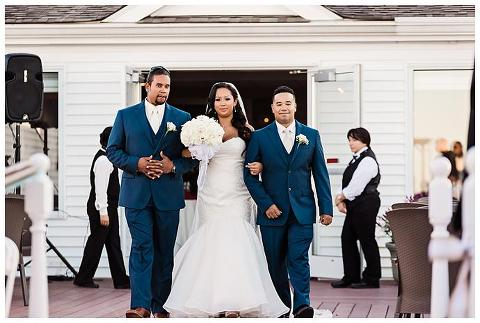 Waterview Wedding Long Island bride and brothers